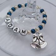 Wedding Bells Personalised Wine Glass Charm - Full Bead Style